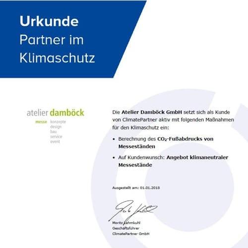 atelier damb?ck的气候合作伙伴证书